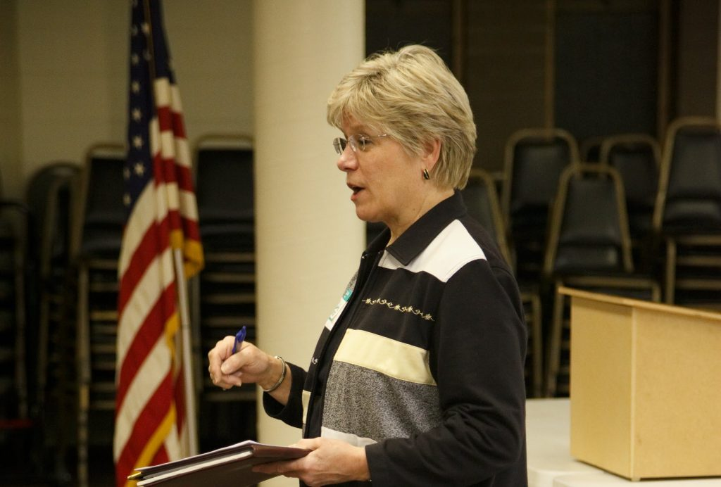 Skyway Water & Sewer General Manager Cynthia Lamothe gives a report at Skyway VFW Post #9430 on January 15th, 2019 for WHCA's Winter Quarterly Community Meeting.
