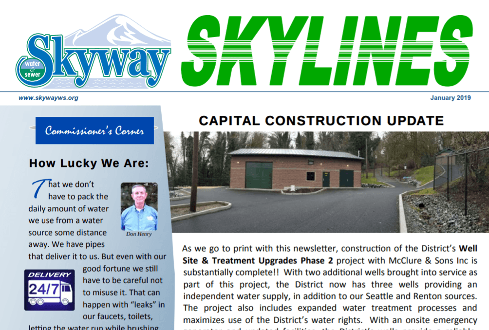 Skyway Water and Sewer - Excerpt from January 2019 Skylines Newsletter