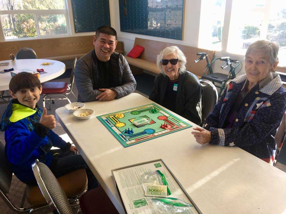 Intergenerational gaming at WHCA Board Game Social 2019-03-02 at Bryn Mawr UMC