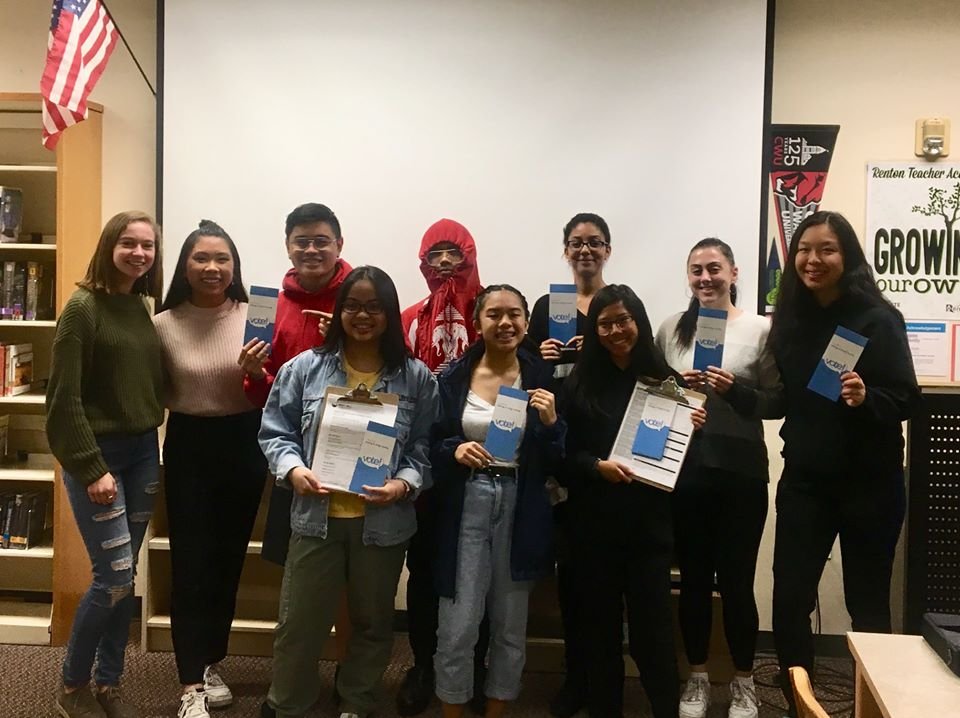 Renton High School student volunteers for WHCA Voter Education efforts, October 2019