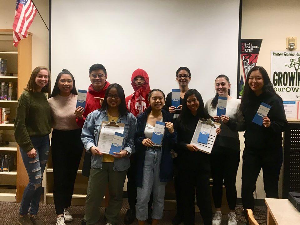 Renton High School student volunteers for WHCA Voter Education efforts, October 2019