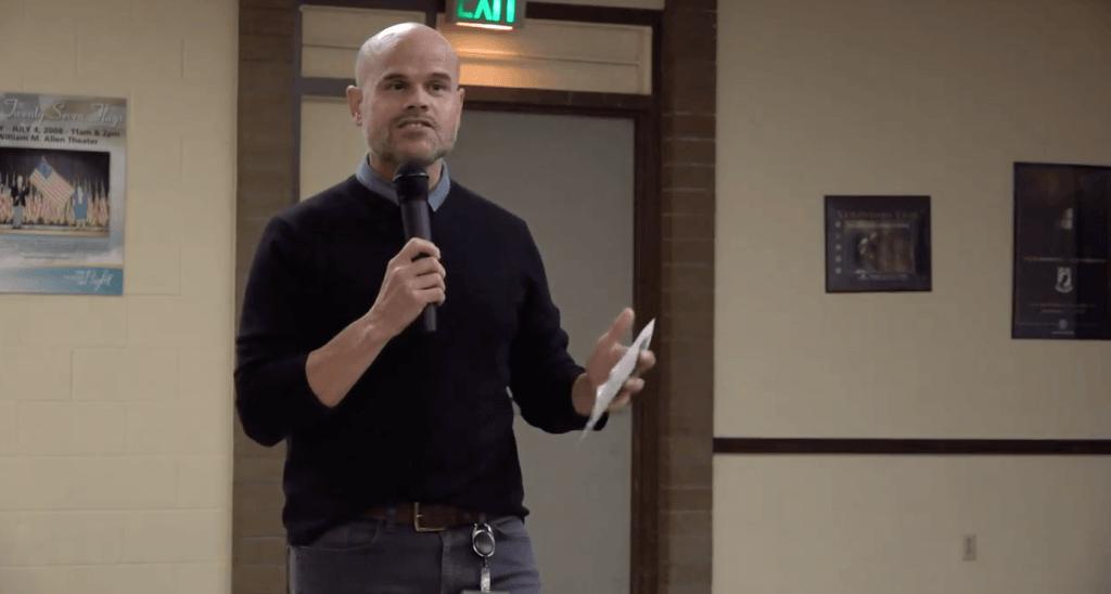 Renton School District Community Relations ED Randy Matheson speaking
