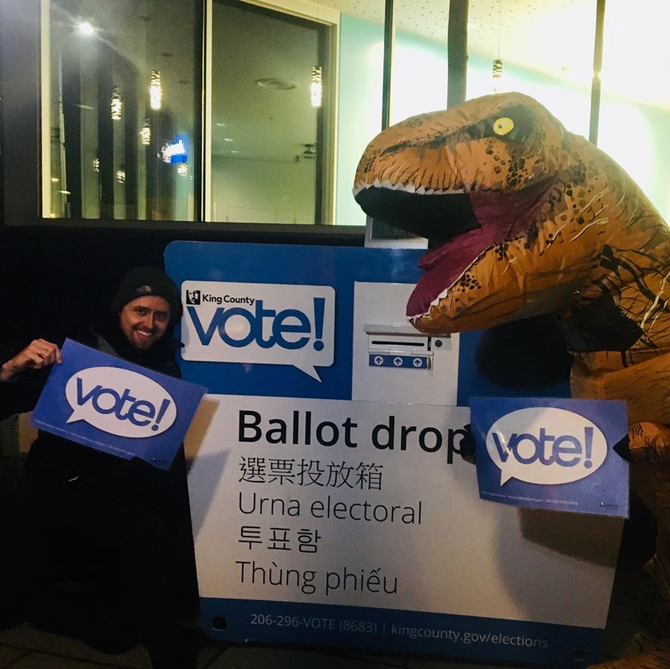 WHCA Voter Assistance Booth T-Rex and Treasurer Micah Phillips at Skyway Library King County Elections Drop Box