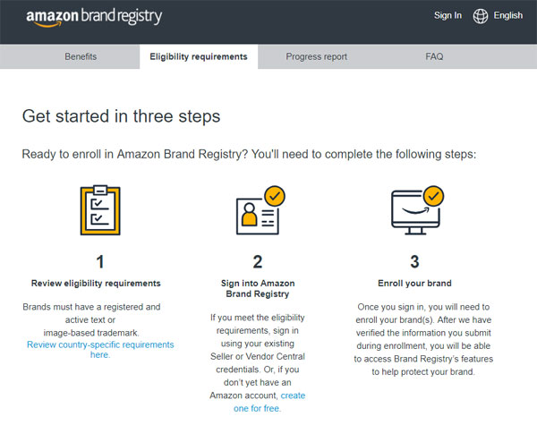 amazon brand registry enrollment request