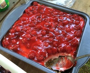 cherry delight in pan with spoon 2