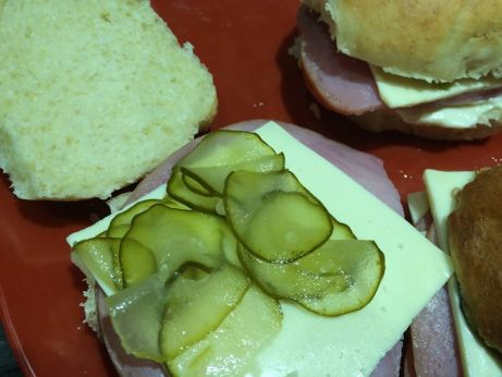pickles on ham sandwich