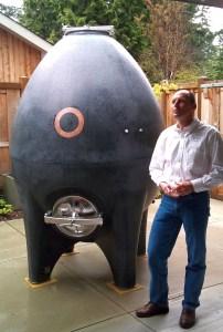 Concrete egg fermenter with wine maker Michael Bartier from Okanagan Crush Pad.