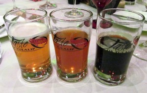 Sample beers Tripel, Brown Ale, and Black IPA
