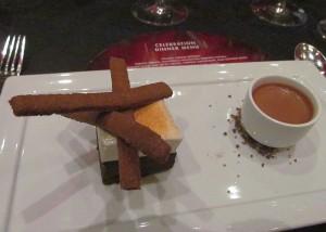 Liquid chocolate and flourless chocolate cake