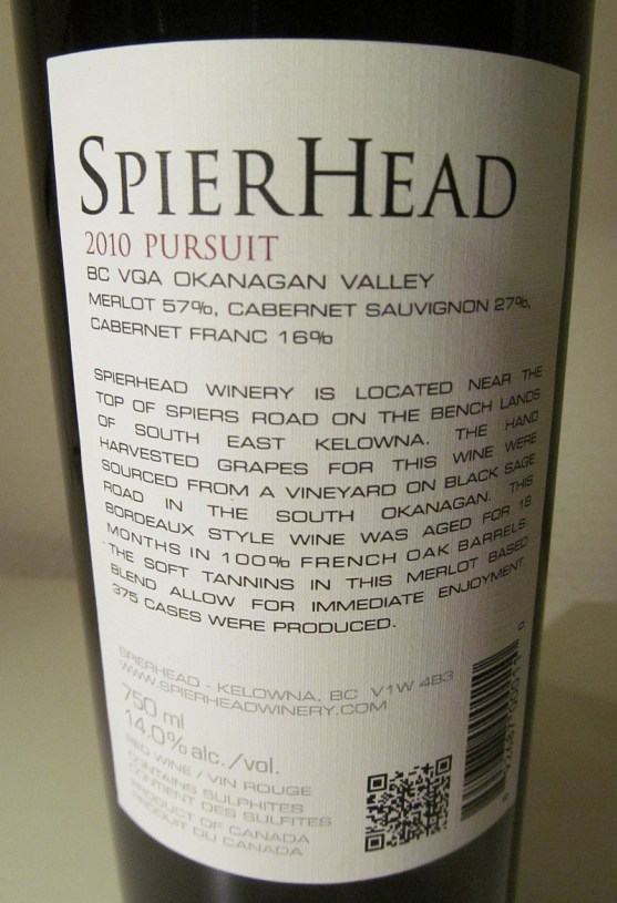 Spierhead Pursuit 2010 back label