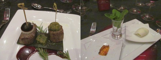 Wagu Filet Mignon Pair and Grilled Pineapple with Chili Powder and Green Apple Mint Sorbet