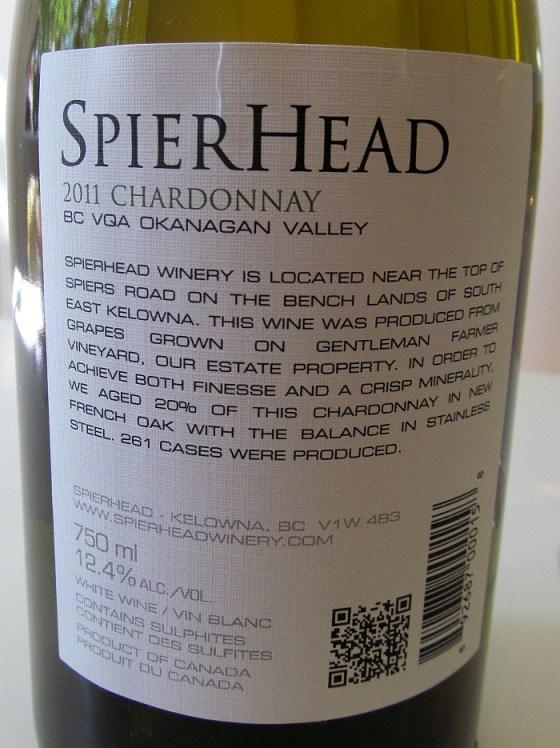 SpierHead Chardonnay 2011 back label
