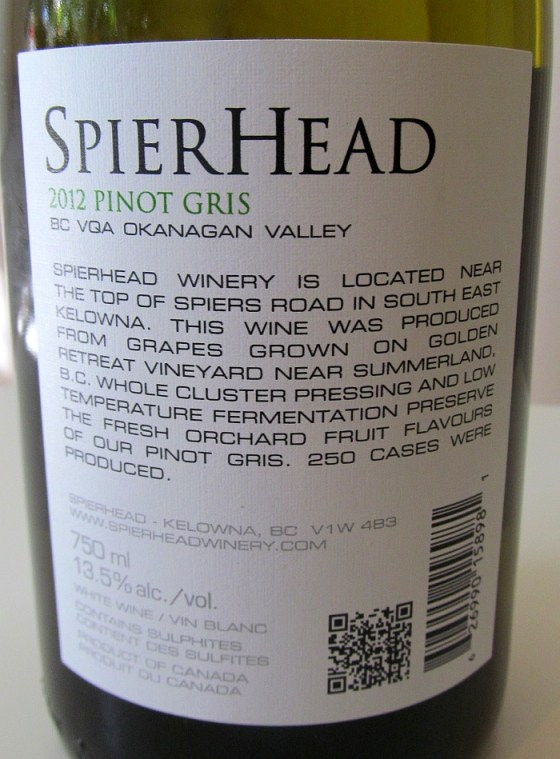SpierHead Pinot Gris 2012 back label