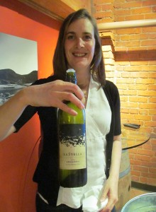 Wine maker Severine Pinte with her La Stella Leggiero 2012