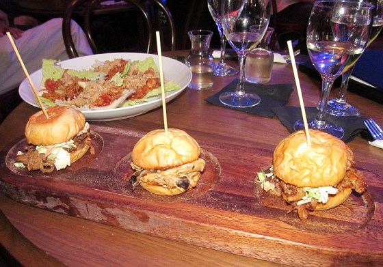 Slider trio with brisket pulled pork and smoked chicken