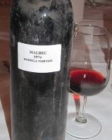 Bodega Norton 1974 Malbec in glass and bottle