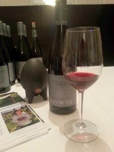 Haywire Pinot Noir 2011 with a miniature concrete egg in the background
