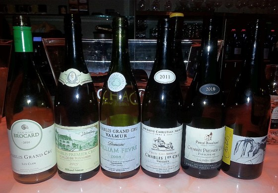 A selection of Chablis for our dinner