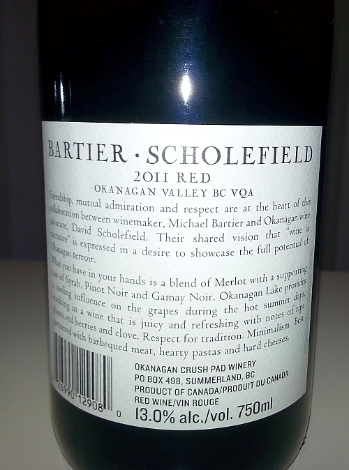 Bartier Scholefield Red 2011 back label