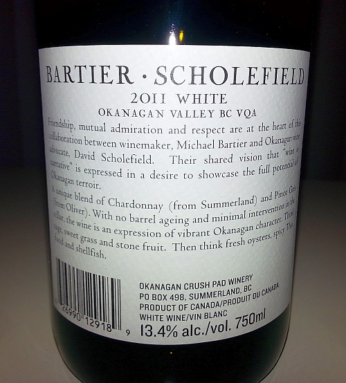 Bartier Scholefield White 2011 back label