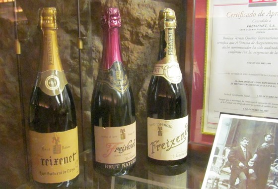 Some historical bottles of Friexenet Cava on display