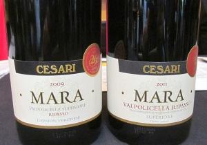 Cesari Mara Valpolicella Ripasso 2009 and 2011