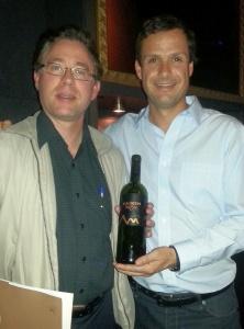 Karl andAurelio with a bottle of Kaiken Ultra Malbec