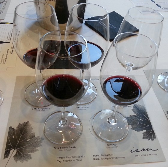 Second Flight of Wines set up for Kangarilla Road Master Class