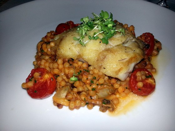 Pan Seared Red Snapper with Fregola Pasta at Hart House