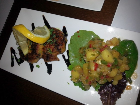 Wild Salmon Cake, Pineapple salsa, pomegranate vinaigrette and balsamic reduction