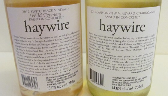 Haywire Wines Chardonnay back labels