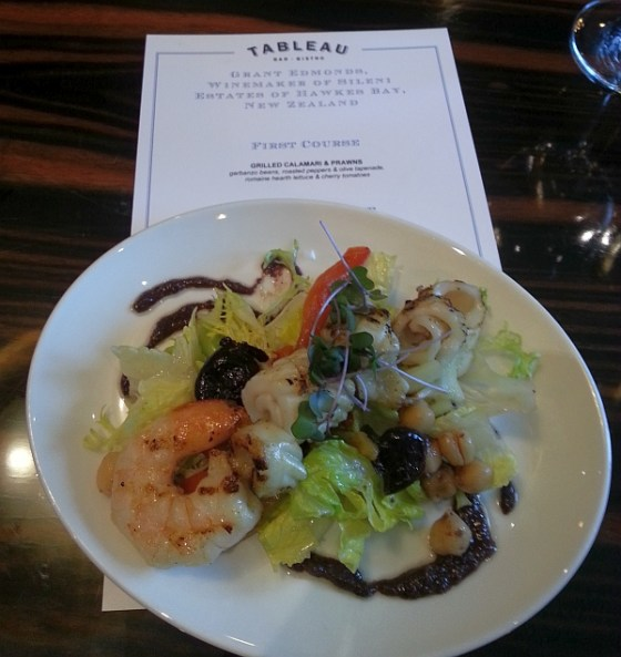 Grilled Calamari & Prawns at Tableau Bar Bistro