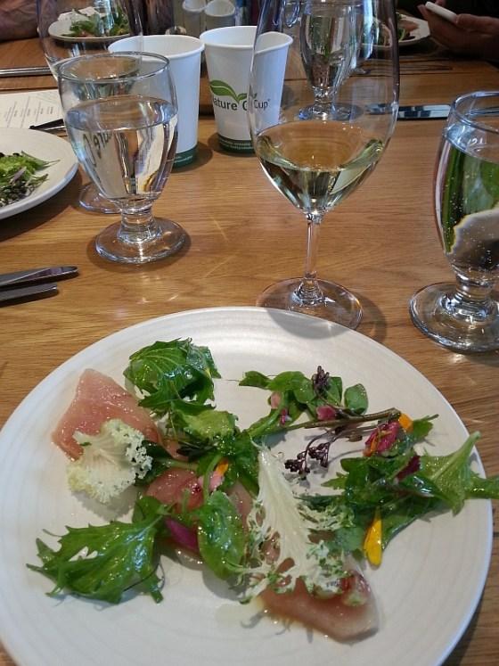 Forage: Albacore tuna crudo, lemon verbena infused olive oil, gooseberry, salad greens and dandelion dressing