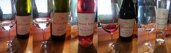 Recline Ridge Kerner Bacchus, Make Me Blush, Just Being Frank and Hummingbird's Kiss wines