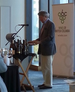 Steven Spurrier talking about the results and BC wine