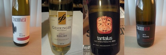 Synchromesh Thorny Vines, Gehringer Brothers Classic, Tantalus Old Vines, and Synchrmesh Storm Haven Vineyard Riesling
