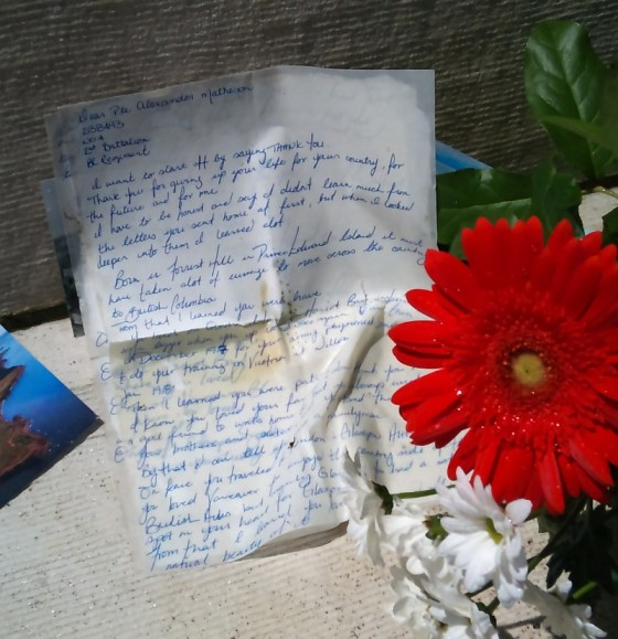 Heartfelt thanks to a fallen soldier