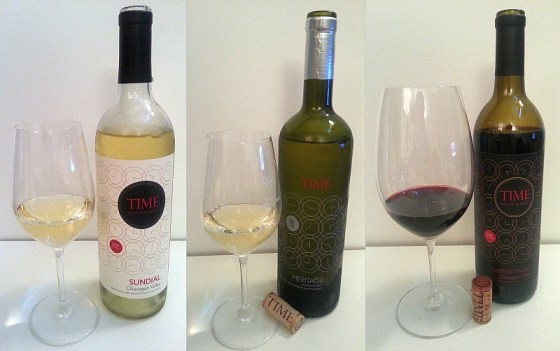 TIME Estate Sundial White Meritage and Cabernet Franc wines in glass