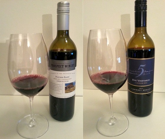 Mission Hill 5 Vineyards Cabernet Merlot and Ganton & Larsen Prospect Winery Haynes Barn Merlot Cabernet wines in glasses