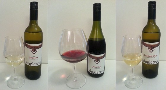 Singletree Winery Siegerrebe, Farmhand White, and Pinot Noir in glasses