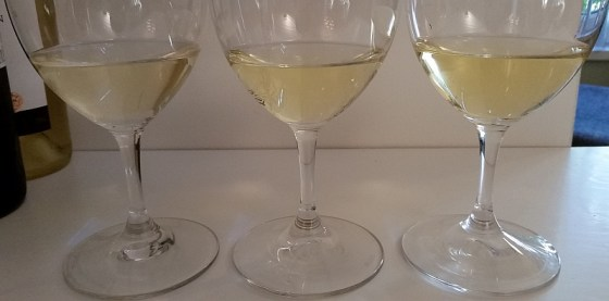 2014, 2008, and 2005 Semillon in glass from left to right