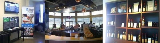 3 views of inside the Niagara College Teaching winery tasting room