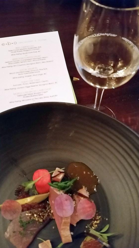 Albacore tuna with Jackson-Triggs Reserve Sauvignon Blanc at ebo restaurant