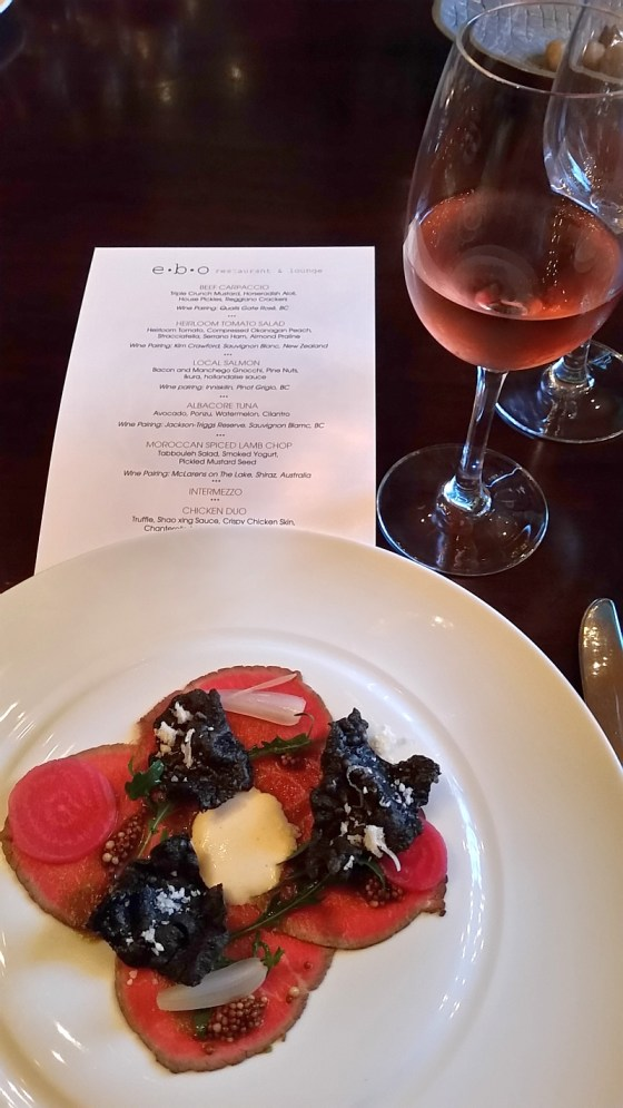 Beef Carpaccio and Quails' Gate Rose at ebo restaurant