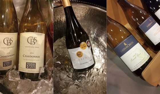 Church & State Chardonnay Cassini Cellars Marsanne Roussanne and CedarCreek Pinot Gris wines