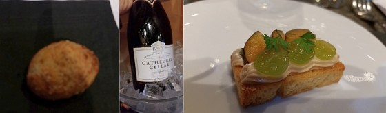 Gougeres and toasted brioche with KWV Cathedral Cellar Basilica's Blanc de Blancs 2010