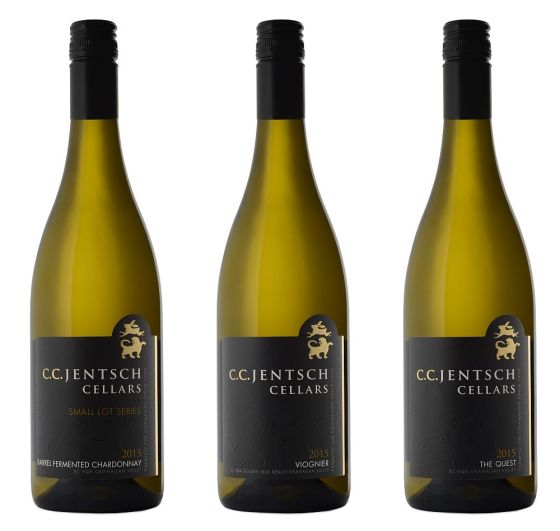 CC Jentsch Barrel Fermented Chardonnay, Viognier, and The Quest white wines