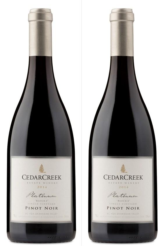 CedarCreek Estate Winery Platinum Block 2 and Block 4 Pinot Noirs