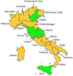 Italian Wine Regions (Courtesy https://en.wikipedia.org/wiki/Italian_wine)