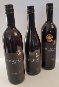 C. C. Jentsch Cellars Cabernet Merlot, Syrah, and The Chase red wines